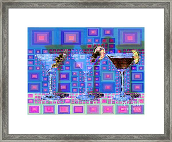 Mid Century Modern Abstract Mcm Three Martinis Shaken Not Stirred 20190127 V2a Framed Print