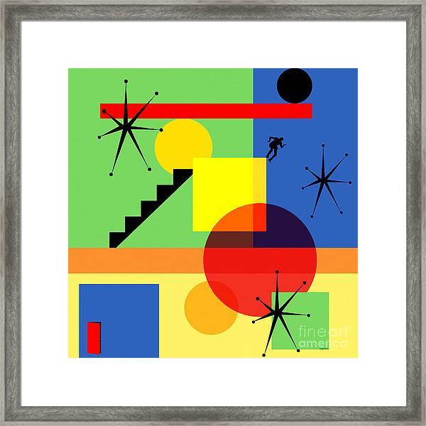 Mid Century Modern Abstract Over The Edge 20190106 Square Framed Print