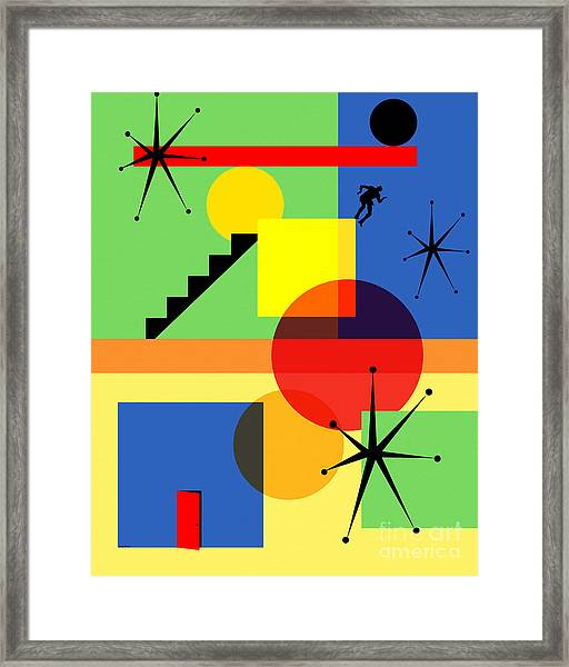 Mid Century Modern Abstract Over The Edge 20190106 Framed Print
