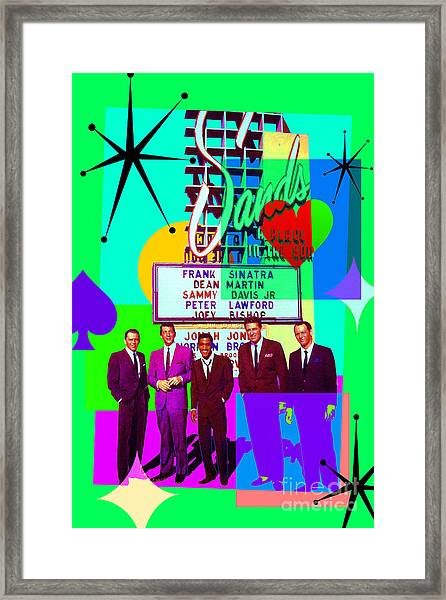 Mid Century Modern Abstract The Rat Pack Frank Sinatra Dean Martin And Sammy Davis Jr 20190120 P112 Framed Print