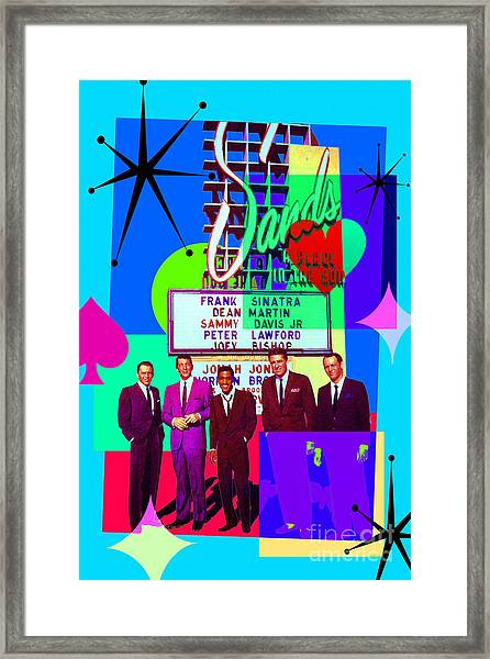 Mid Century Modern Abstract The Rat Pack Frank Sinatra Dean Martin And Sammy Davis Jr 20190120 P160 Framed Print
