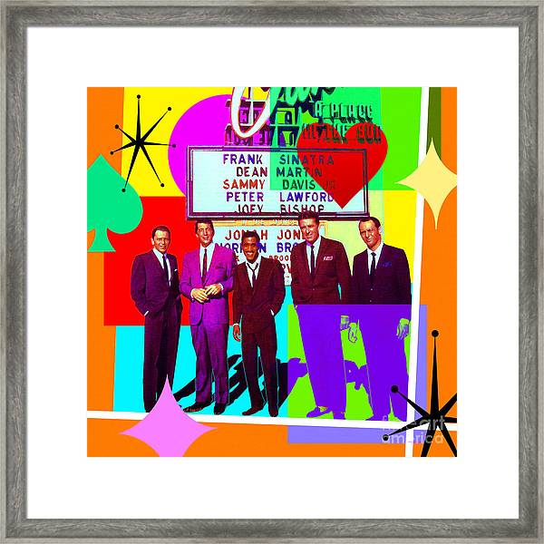 Mid Century Modern Abstract The Rat Pack Frank Sinatra Dean Martin And Sammy Davis Jr 20190120 Sq Framed Print