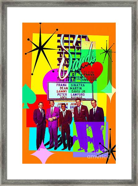 Mid Century Modern Abstract The Rat Pack Frank Sinatra Dean Martin And Sammy Davis Jr 20190120 Framed Print