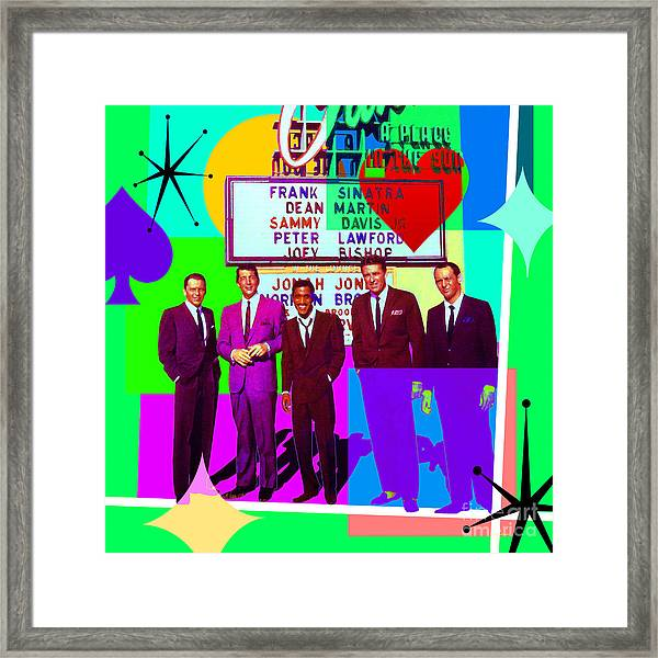 Mid Century Modern Abstract The Rat Pack Frank Sinatra Dean Martin Sammy Davis Jr 20190120 Sq P112 Framed Print