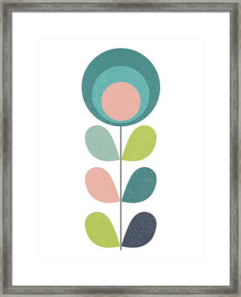 Mid Century Modern Teal Flower I Framed Print