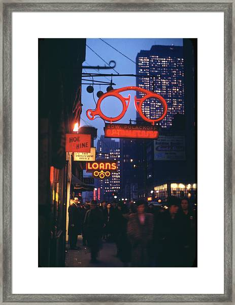 Midtown Manhattan At Night Framed Print