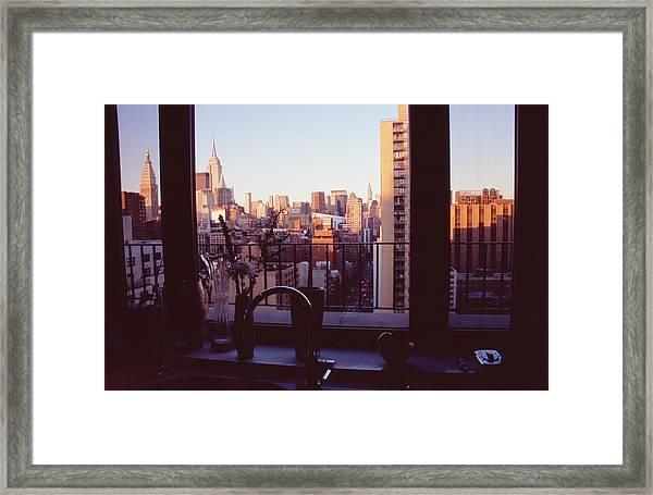 Midtown Manhattan Skyline Through Framed Print