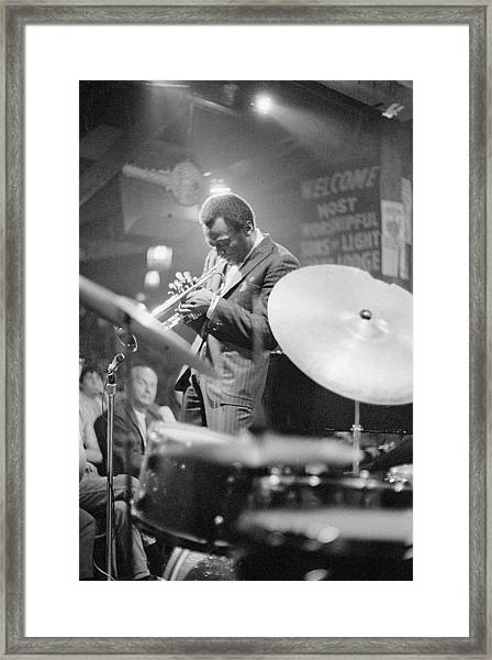 Miles Davis Performing In Nightclub Framed Print by Bettmann