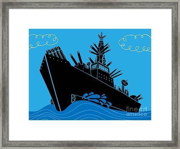 Military Ship With Guns Framed Print