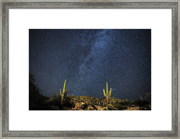 Milky Way And Cactus Framed Print