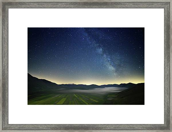 Milky Way And Fields Framed Print