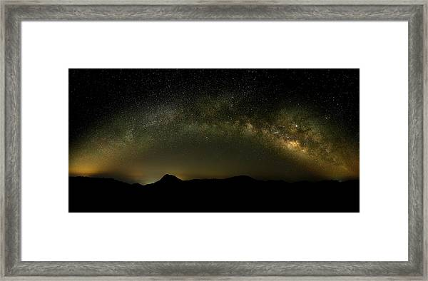 Framed Print featuring the photograph Milky Way Arch Panorama Over Tianping Mountain And Ridge-line by William Dickman