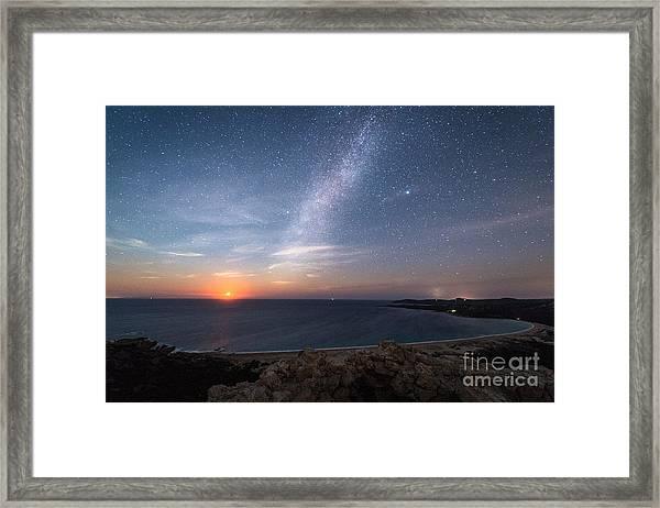 Milky Way On The Beach Framed Print