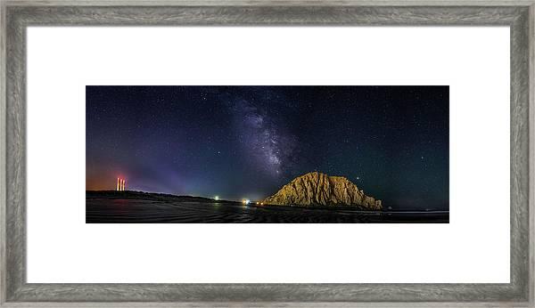 Milky Way Over Morro Rock Framed Print