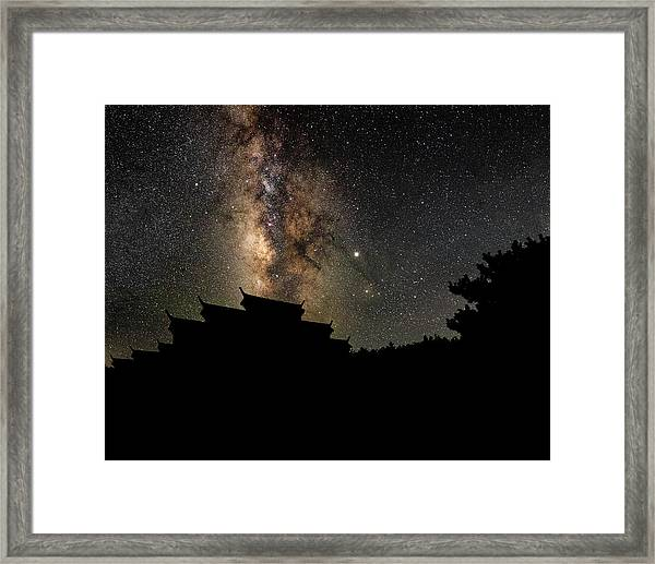 Framed Print featuring the photograph Milky Way Over The Dark Temple by William Dickman