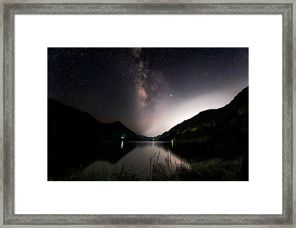 Framed Print featuring the photograph Milky Way Over The Ou River Near Longquan In China by William Dickman