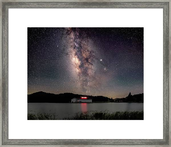Framed Print featuring the photograph Milky Way Over The Tianping Mountain Lake Temple by William Dickman
