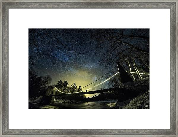 Milky Way Over The Wire Bridge Framed Print
