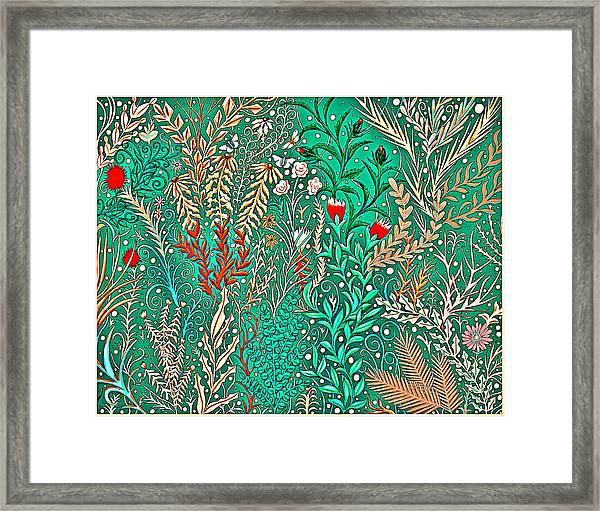 Millefleurs Home Decor Design In Brilliant Green And Light Oranges With Leaves And Flowers Framed Print