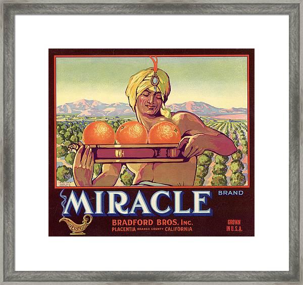 Miracle Brand Orange Label Framed Print