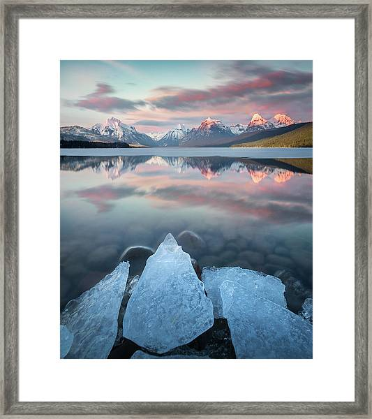 Mirrored Reflection / Lake Mcdonald, Glacier National Park  Framed Print
