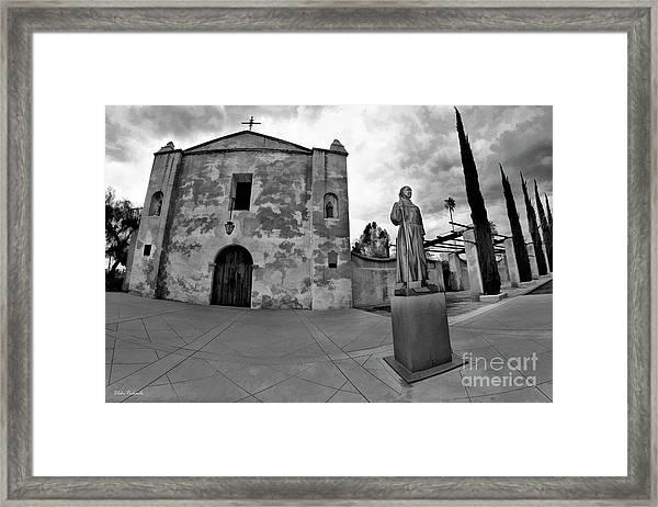 Mission San Gabriel San Gabriel Ca Black And White Framed Print