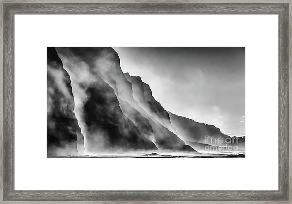 Mist On The Rocks Framed Print