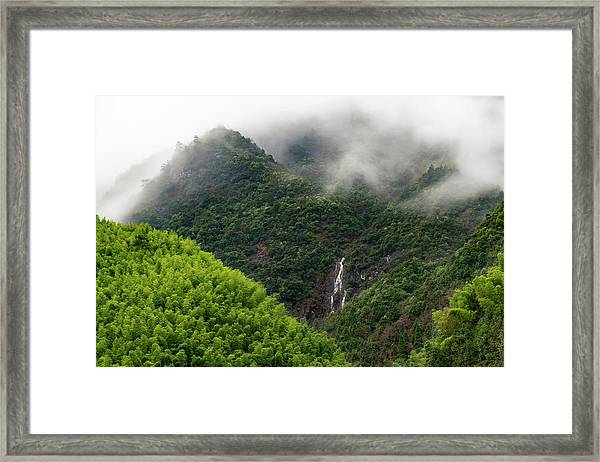 Framed Print featuring the photograph Misty Mountain Waterfall by William Dickman