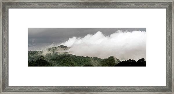 Framed Print featuring the photograph Misty Mountains II 3x1 by William Dickman