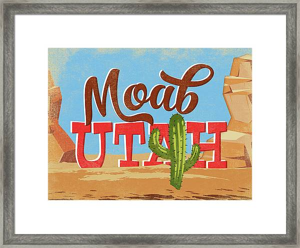 Moab Utah Cartoon Desert Framed Print