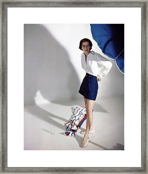 Model In A Carolyn Schnurer Ensemble Framed Print