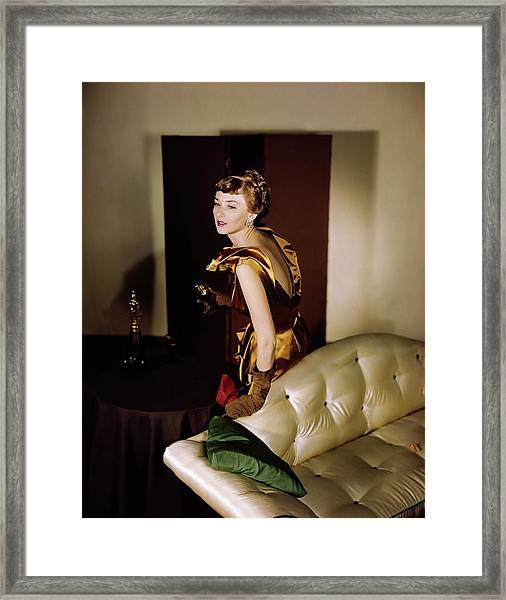 Model In A Ceil Chapman Dress Framed Print
