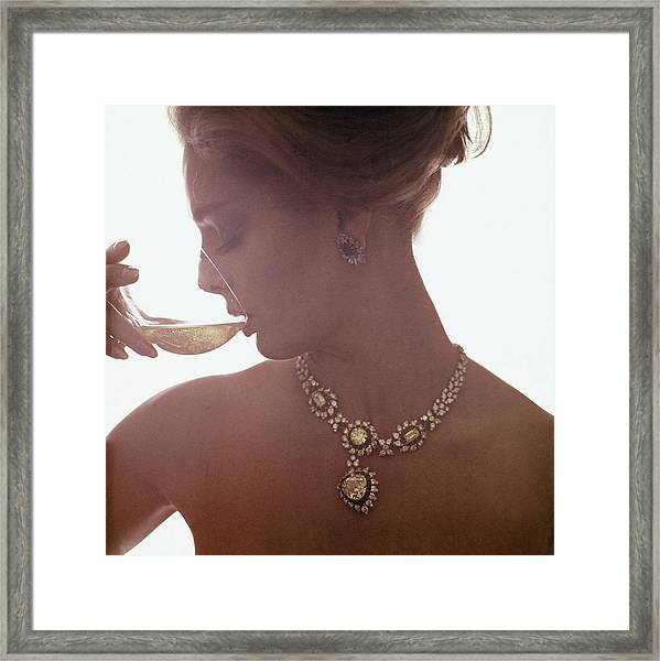 Model In A Diamond Necklace Framed Print