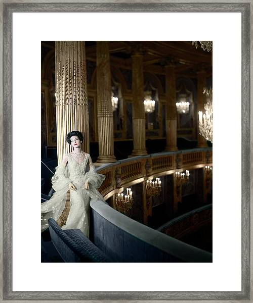 Model In A Dior Tulle Dress Framed Print by Henry Clarke