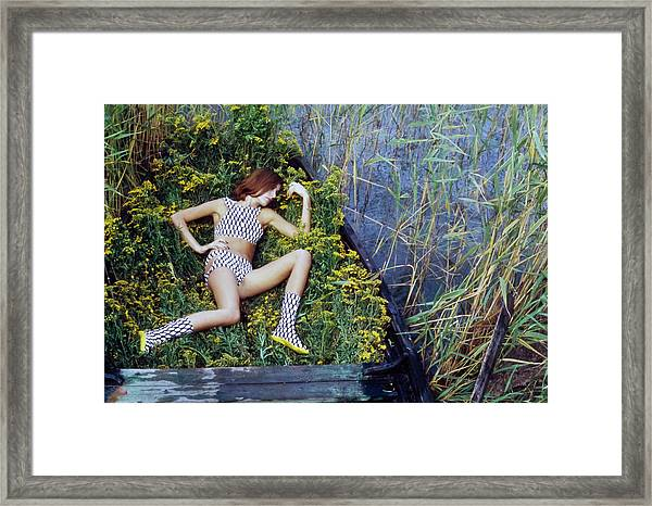 Model In A Fish Scale Patterned Bikini And Boots Framed Print by Gordon Parks