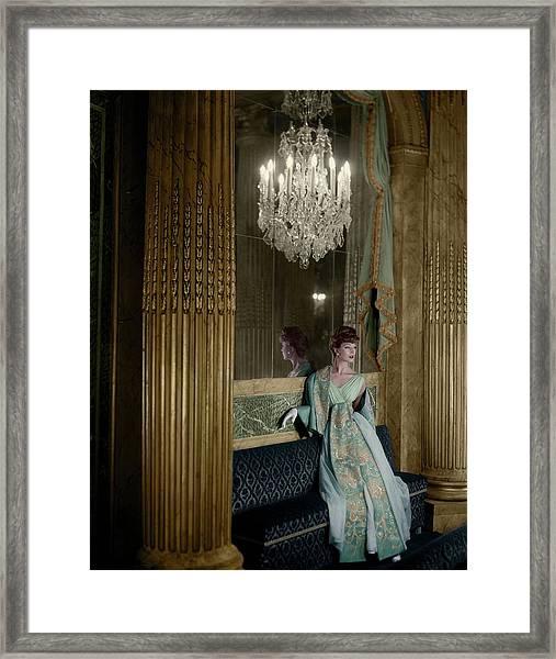 Model In A Lanvin-castillo Dress Framed Print by Henry Clarke