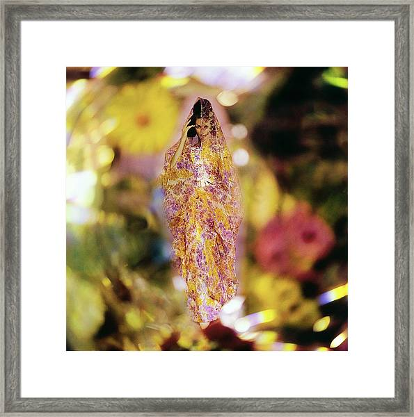 Model In A Silk Dress And Shawl Framed Print by Gordon Parks