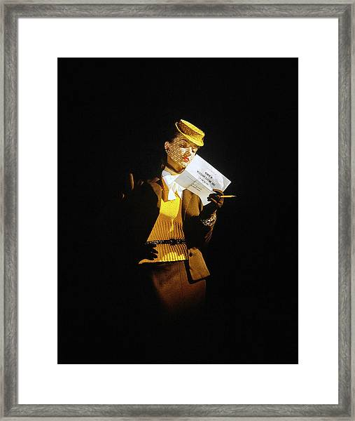 Model In A Wool Suit By Traina-norell Framed Print by John Rawlings