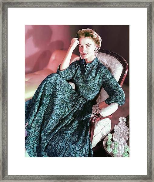 Model In An Anne Fogarty Dress Framed Print