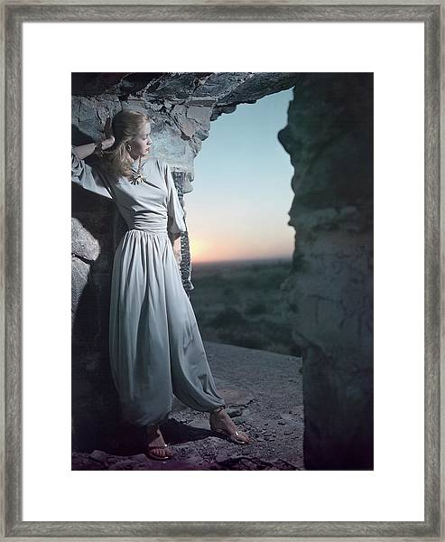 Model In Claire Mccardell Trouser Set At Twilight Framed Print by Serge Balkin
