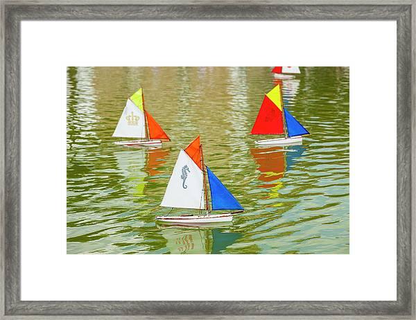 Model Sailboats In Pond, Paris Framed Print