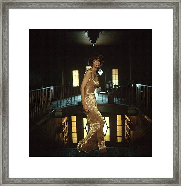 Model Wearing Gold-beaded Sheath Gown Framed Print by Gordon Parks