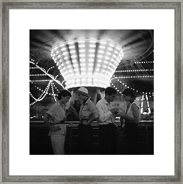 Models At A Carnival Framed Print by Gordon Parks
