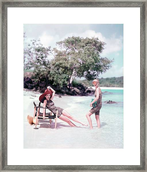 Models At The Beach In St. John Framed Print by Richard Rutledge