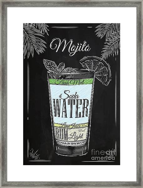 Mojito Cocktail In Vintage Style Framed Print