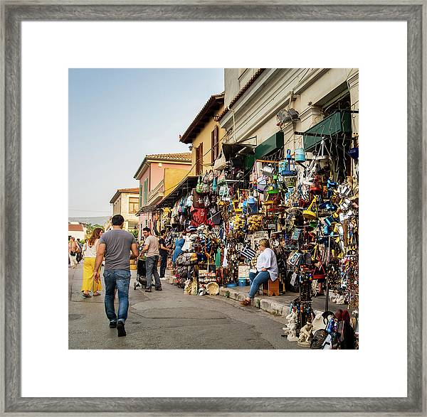 Framed Print featuring the photograph Monastiraki  Colours by Juan Contreras