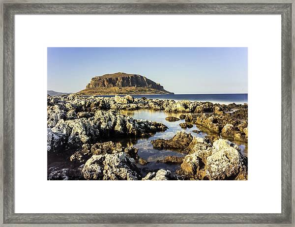 Framed Print featuring the photograph Monemvasia Rock by Milan Ljubisavljevic