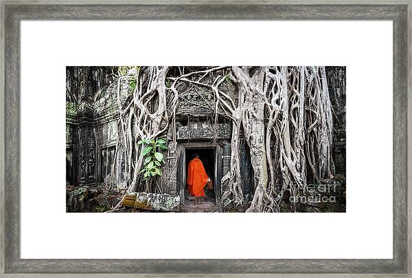 Monk In Angkor Wat Cambodia. Ta Prohm Framed Print by Banana Republic Images