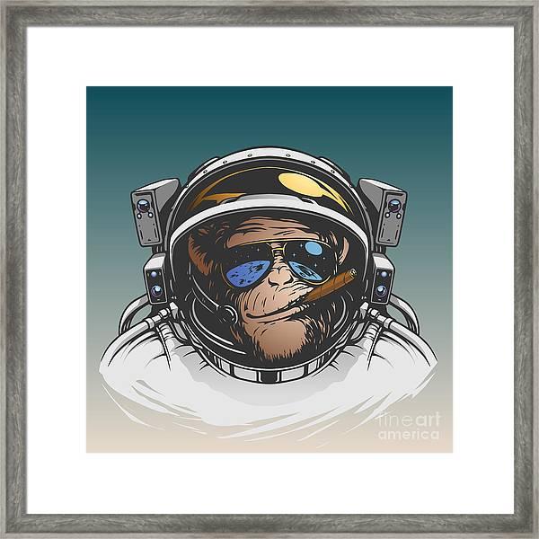 Monkey Astronaut Illustration Framed Print