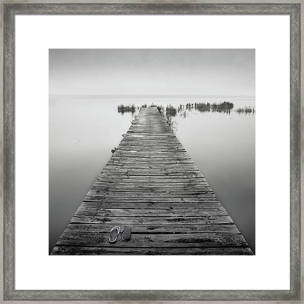 Mono Jetty With Sandals Framed Print